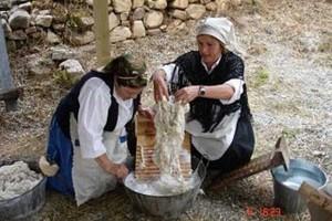 Chajunco lavando lana