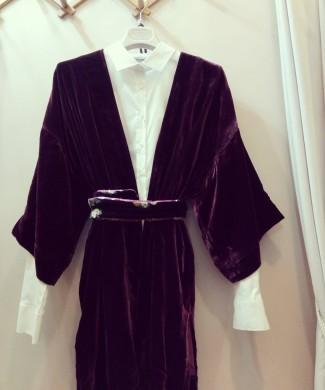 KChi Kimono terciopelo burdeos