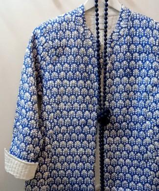 ZE chaqueta acolchada block print